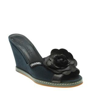 Chanel Camellia Leather Wedgesx Size 38 184908